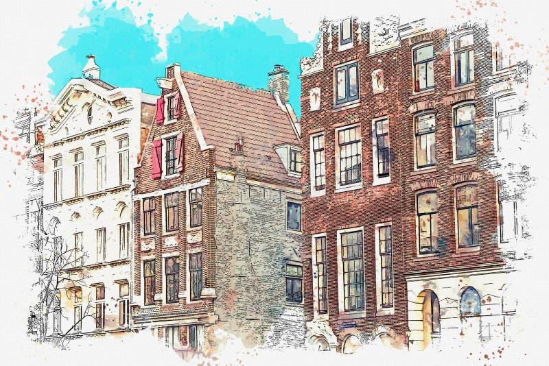 Traditionele architectuur in Amsterdam royalty-vrije illustratie