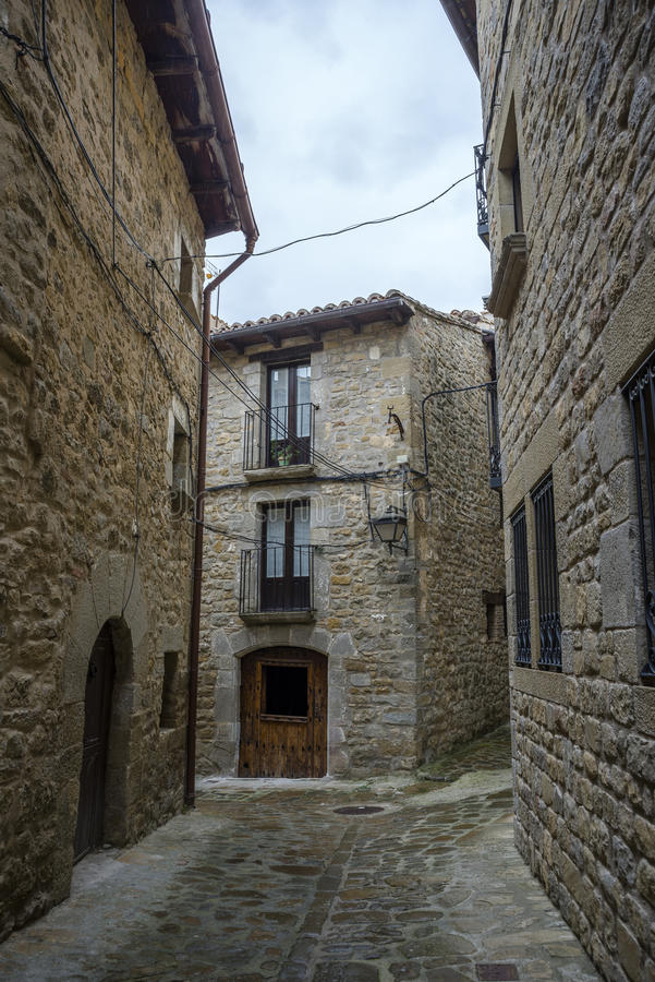 Traditionele architectuur in Sos del Rey Catolico royalty-vrije stock foto