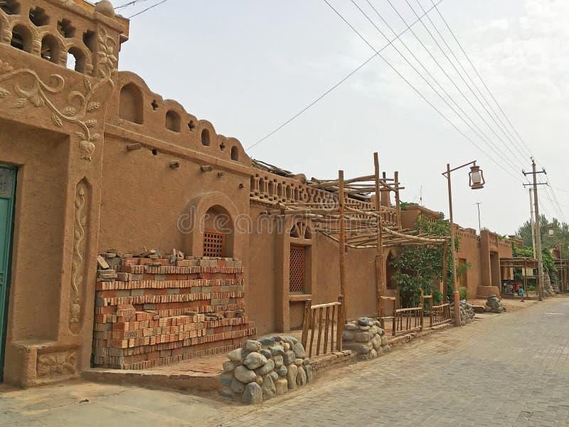 Traditionele Architectuur in Turpan, China stock foto's