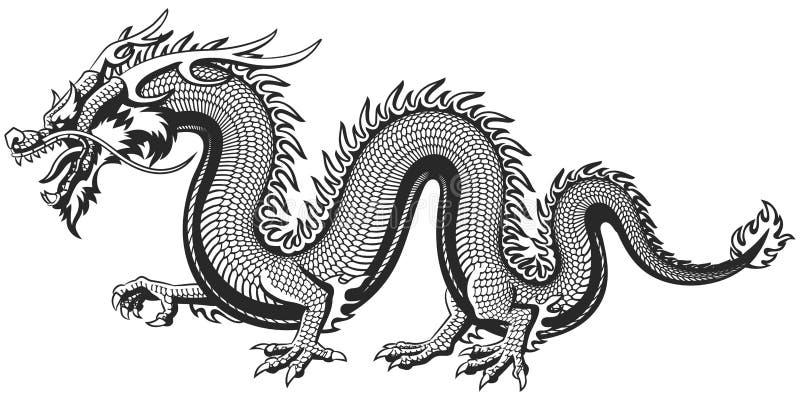 Traditionele Aziatische Draak stock illustratie