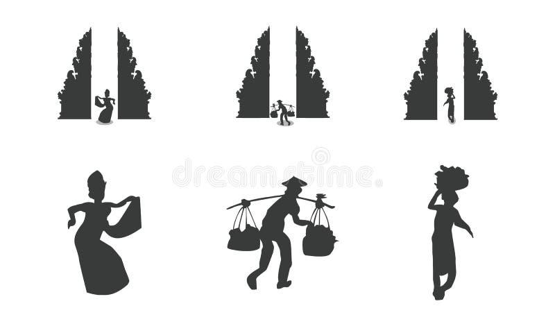 Traditionele Balinese architectuur en mensen royalty-vrije illustratie