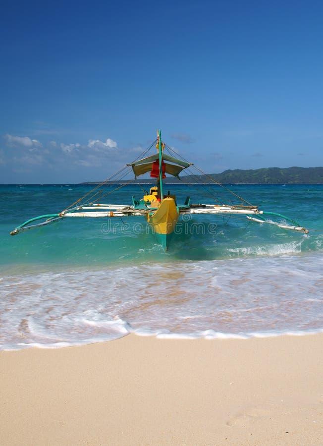 Traditionele boot op het strand van eiland Boracay royalty-vrije stock foto