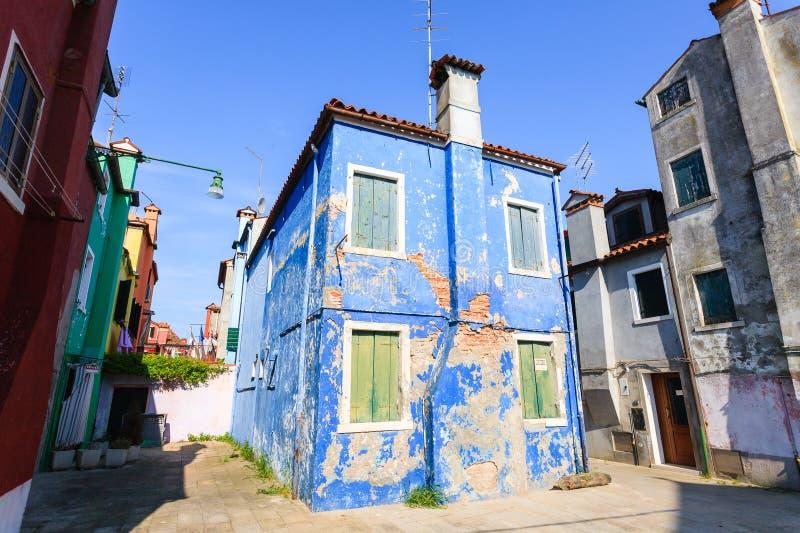 Traditionele Burano gekleurde huizen, Veneti? royalty-vrije stock foto's