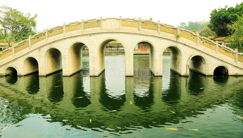 Traditionele Chinese boogbrug in oude Chinese tuin, Aziatische klassieke boogbrug in China stock fotografie