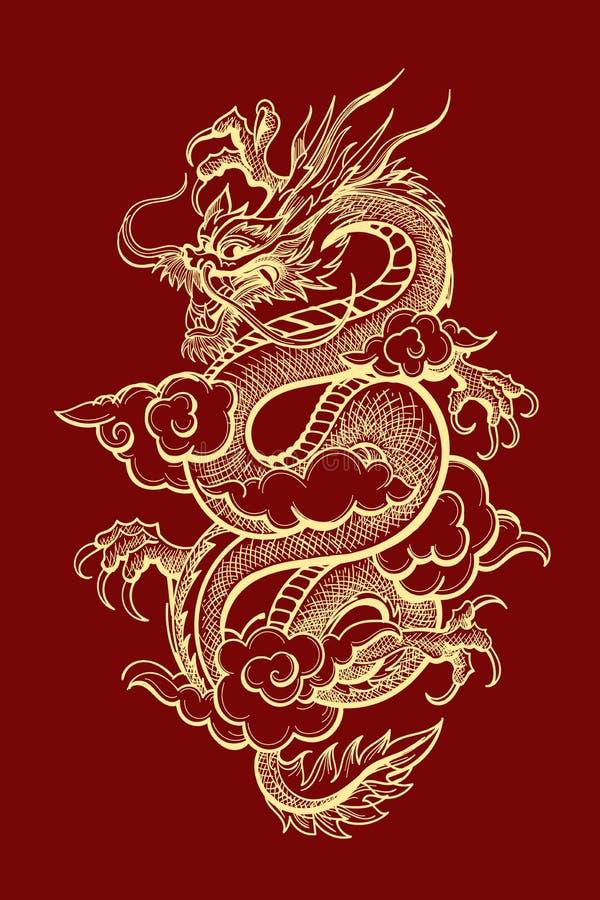 Traditionele Chinese Draakillustratie vector illustratie