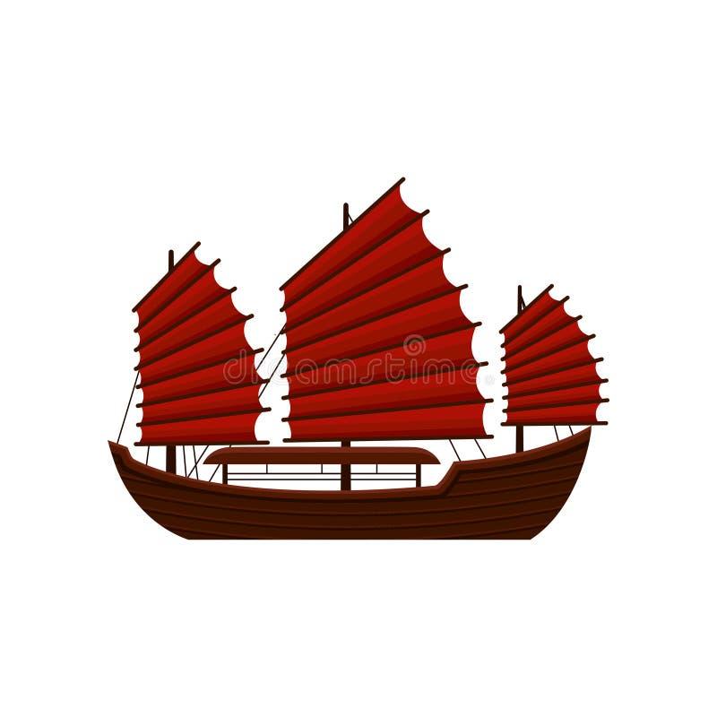 Traditionele Chinese troepboot met rode zeilen Oud houten varend schip Aziatisch marien schip Symbool van Hong Kong vlak vector illustratie