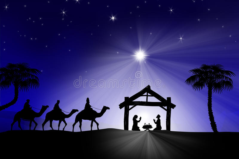Traditionele Christian Christmas Nativity-scène met drie wi vector illustratie