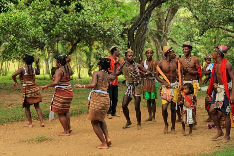 Traditionele dans in Madagascar, Afrika stock foto's