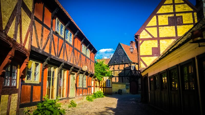 Traditionele Deense huizen in Den Gamle By in Aarhus, Denemarken stock fotografie