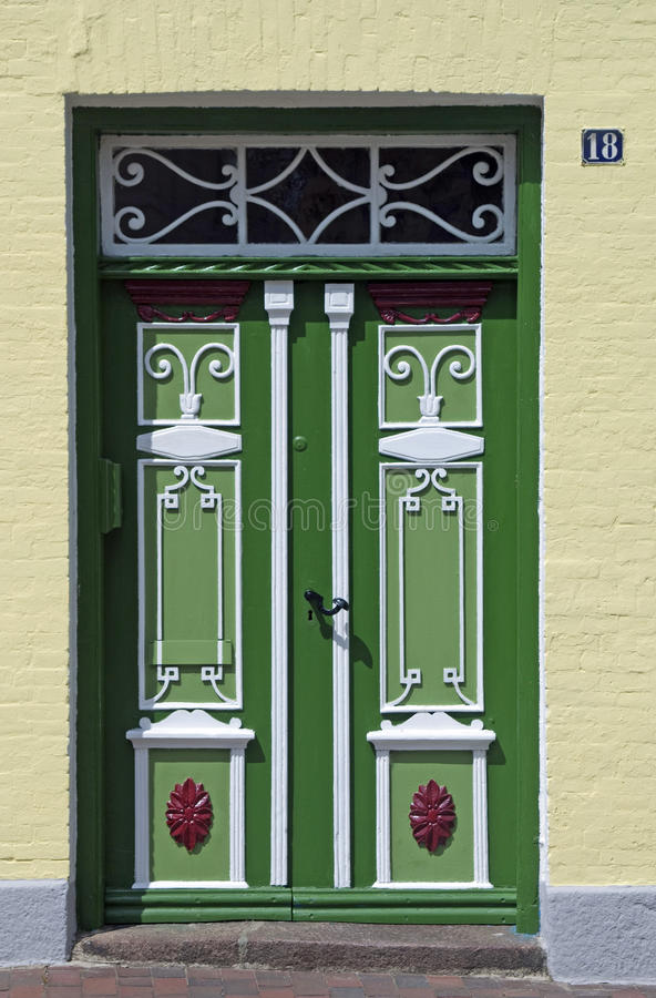 Traditionele deur in Schleswig stock fotografie