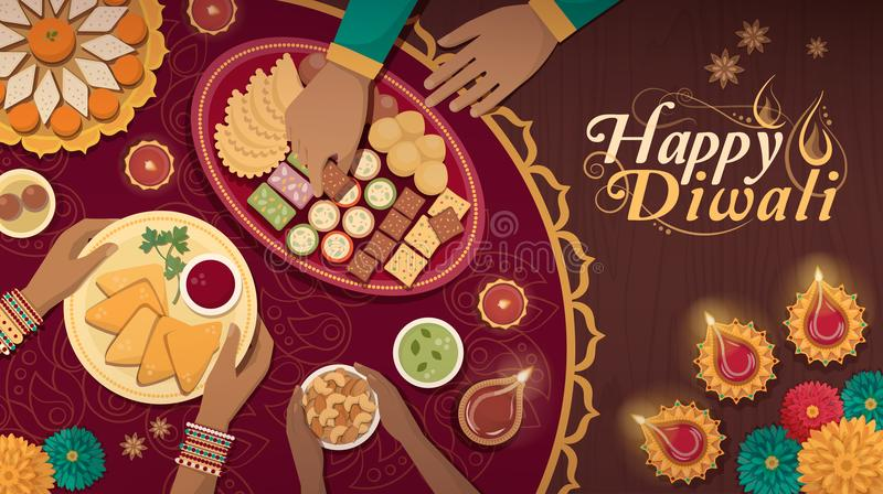 Traditionele Diwali-viering thuis met voedsel en lampen vector illustratie