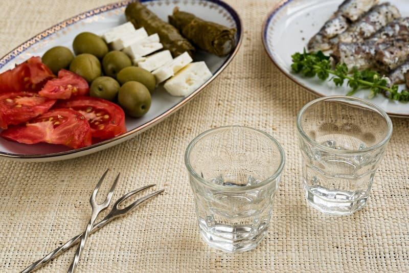 Traditionele drank Ouzo of Raki stock fotografie