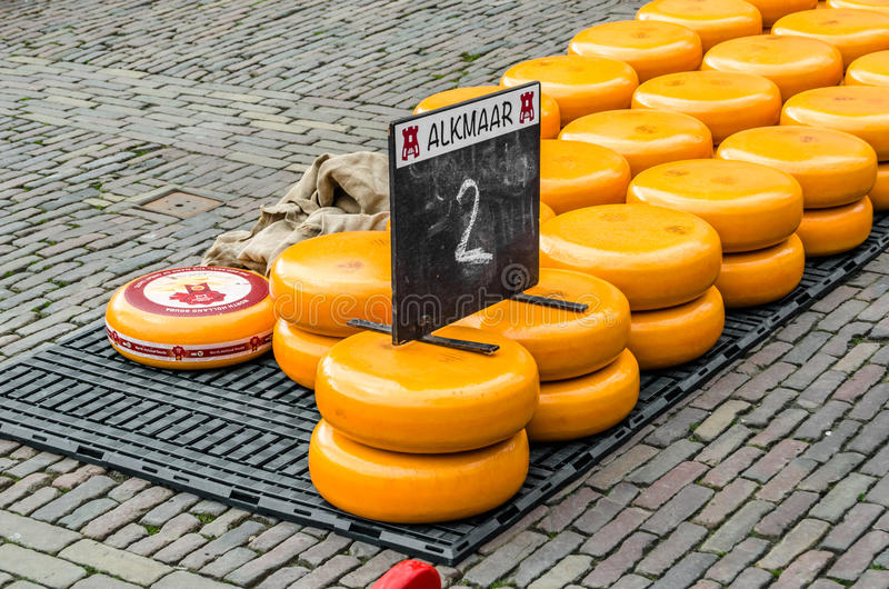 Traditionele Edammer kaasmarkt in Alkmaar, Nederland royalty-vrije stock foto