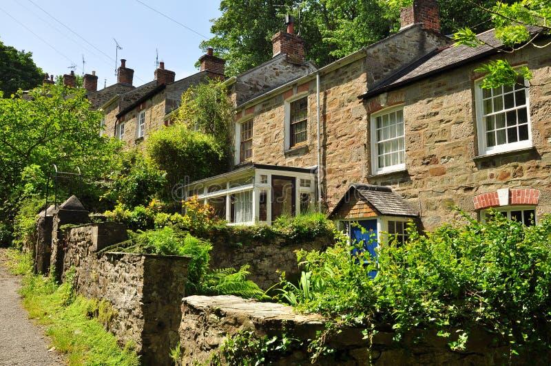Traditionele Engelse huizen Cornwall, Engeland, het UK royalty-vrije stock fotografie