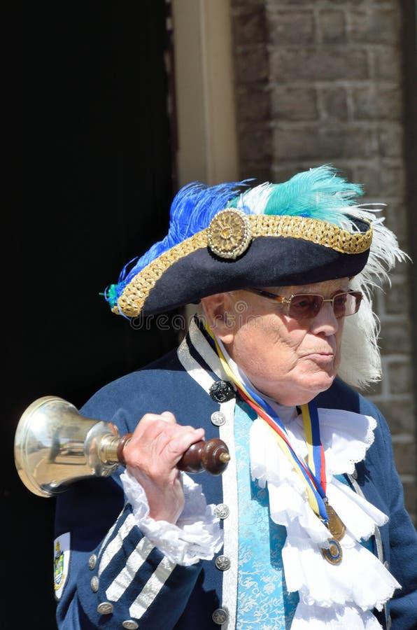 Traditionele Engelse Stadscrier met Klok royalty-vrije stock foto's