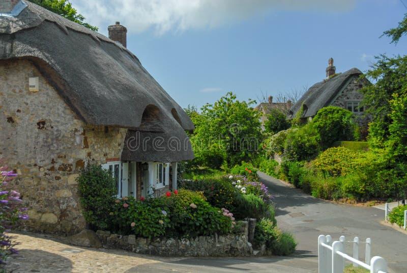 Traditionele Engelse vilagehuizen met met stro bedekt dak stock afbeelding