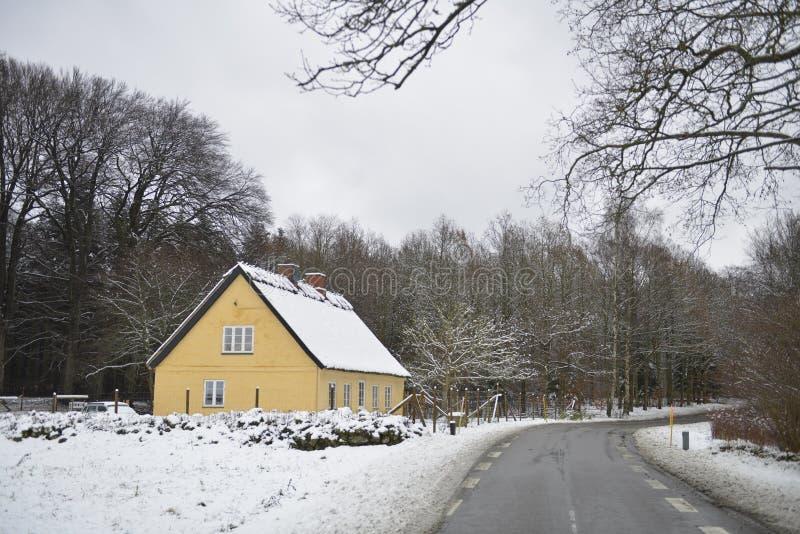 Traditionele gebouwen in Deense stad op de winter stock afbeeldingen