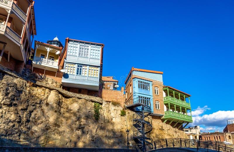 Traditionele Georgische architectuur in de oude stad van Tbilisi royalty-vrije stock fotografie