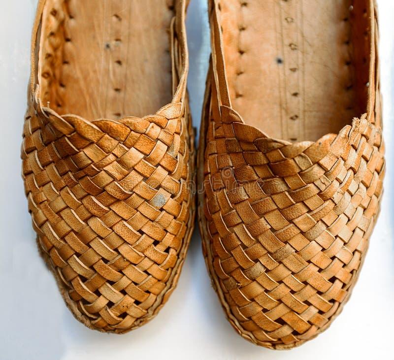Traditionele Gevlechte sandals, Rajasthan, India stock afbeeldingen