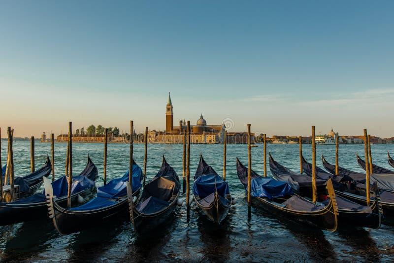 Traditionele Gondels in Veneti? royalty-vrije stock foto