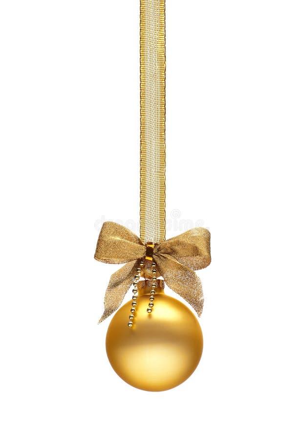 Traditionele gouden Kerstmisbal stock foto