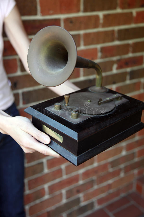Traditionele gramaphonereplica stock fotografie