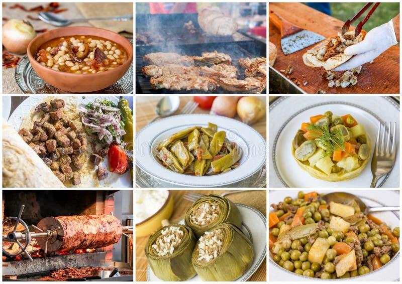 Traditionele Heerlijke Verschillende Turkse voedselcollage Rijk menu stock afbeelding
