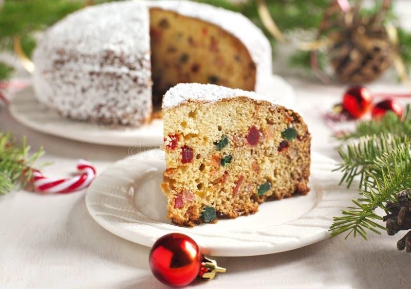 Traditionele het fruitcake van Kerstmis stock afbeelding