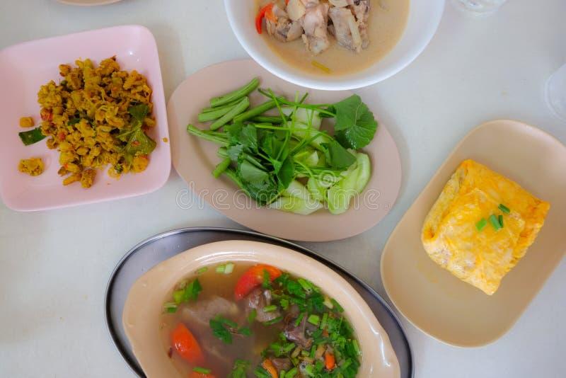 Traditionele het voedselreeks van de lunchkeuken van zuidelijke Thaise stijl royalty-vrije stock foto