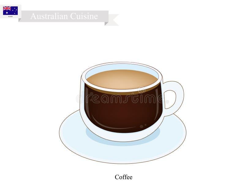 Traditionele Hete Koffie, Populaire Drank in Australië royalty-vrije illustratie