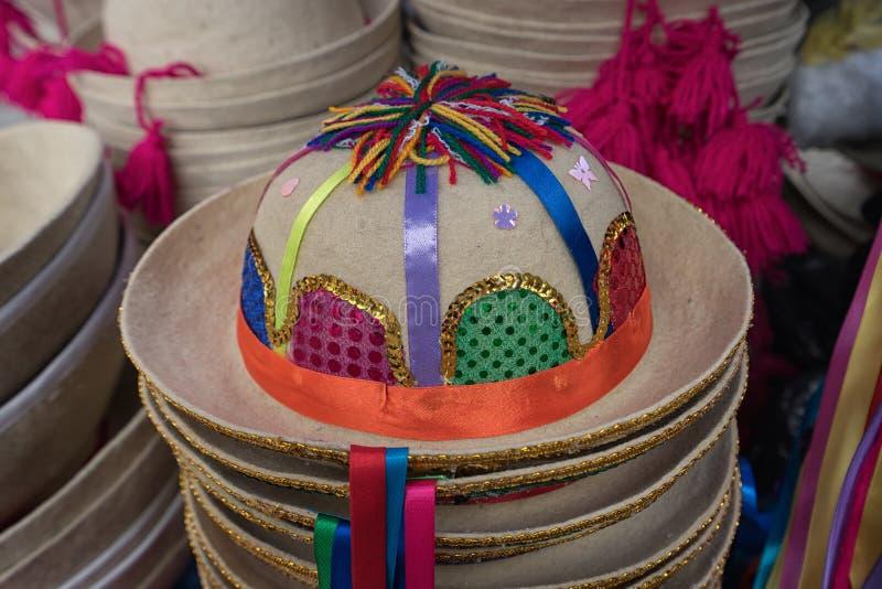 Traditionele hoed in Ecuador stock afbeelding