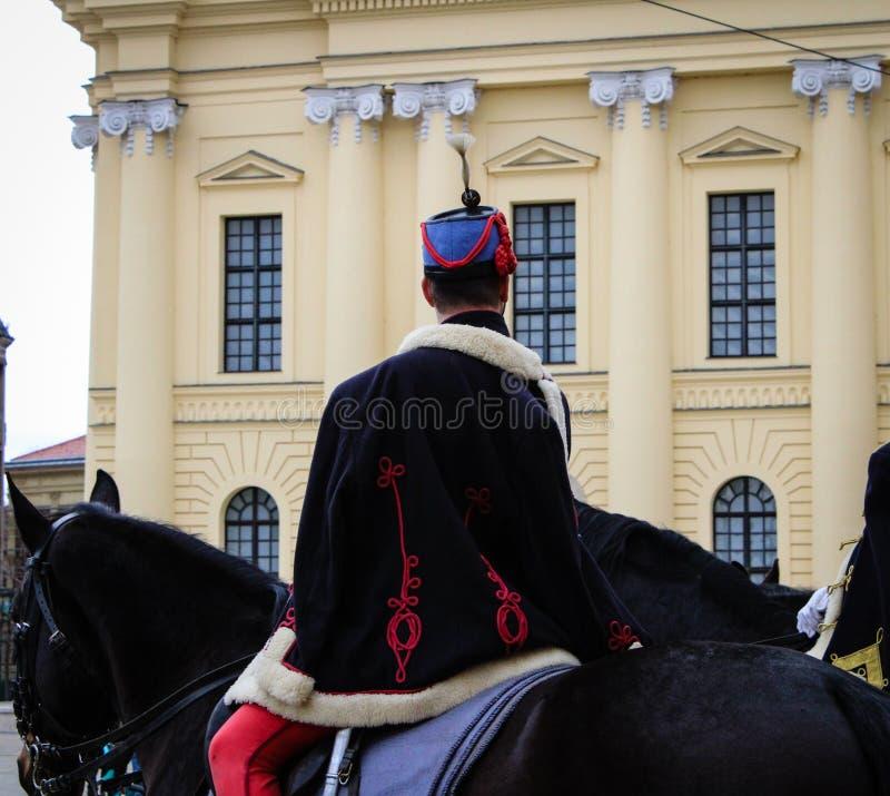 Traditionele Hongaarse cavalerist - Hongaarse Revolutie stock afbeeldingen