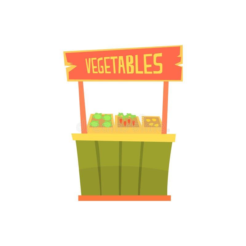Traditionele houten kiosk met groenten, vaste marktkraam voor de externe vectorillustratie van het gebruiksbeeldverhaal stock illustratie