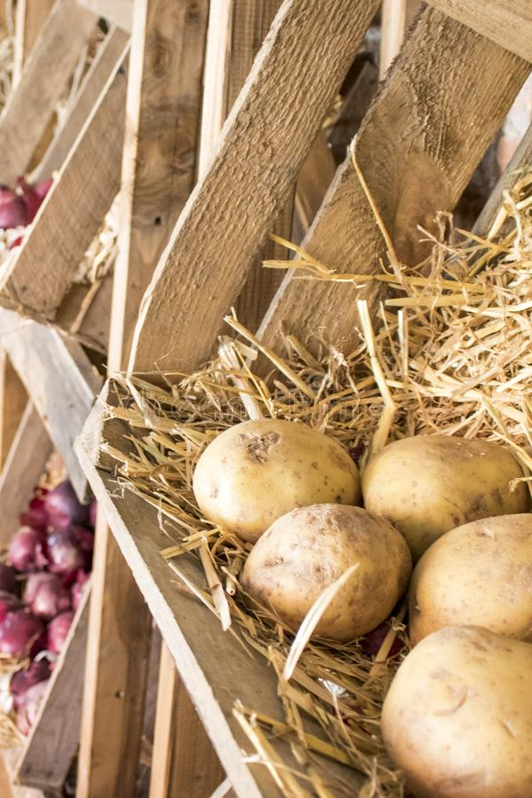 Traditionele houten landbouwersdozen met friuts en groenten stock foto's