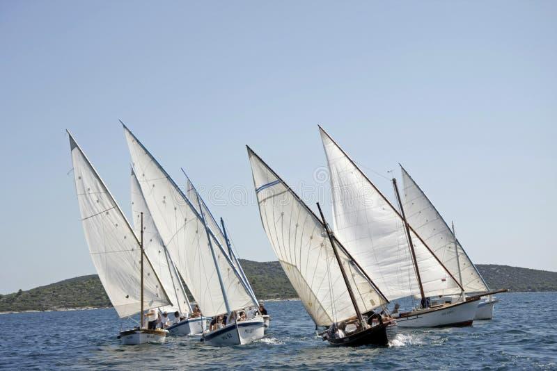 Traditionele houten zeilboten tijdens het regatta Latijnse Zeil royalty-vrije stock afbeelding