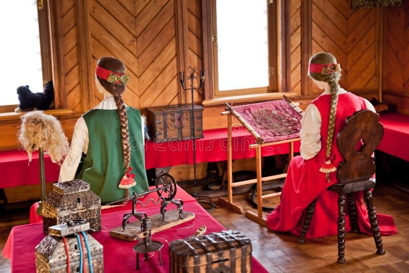 Traditionele huis binnenlandse Russische aristocratie van de zeventiende centur stock foto's