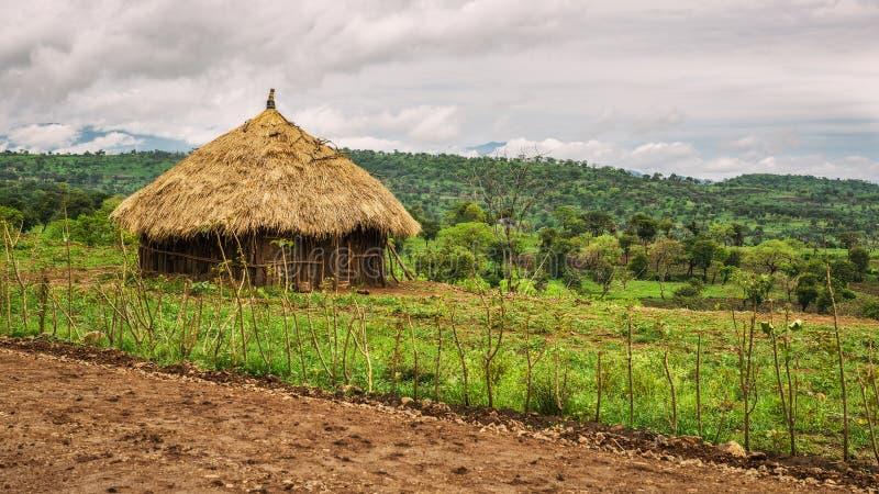 Traditionele huizen in Ethiopië, Afrika stock foto's