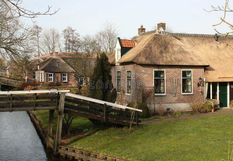 Traditionele huizen Giethoorn royalty-vrije stock foto