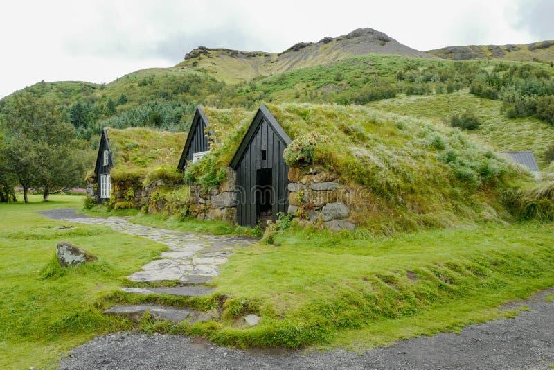 Traditionele huizen in IJsland royalty-vrije stock foto