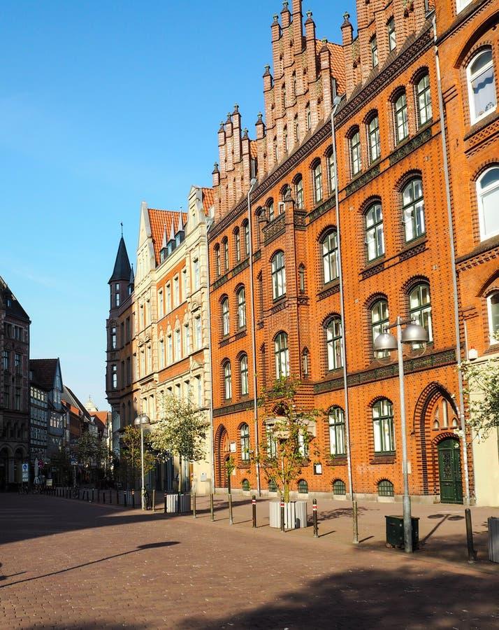 Traditionele huizen over Marktkirche in oude stad Hanover royalty-vrije stock foto's