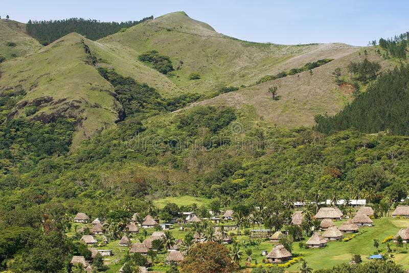 Traditionele huizen van Navala-dorp, Viti Levu, Fiji royalty-vrije stock afbeelding