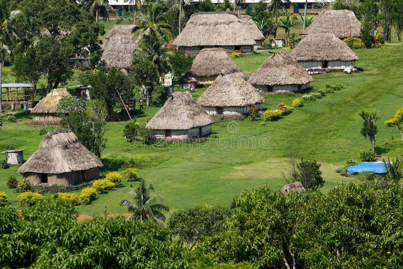 Traditionele huizen van Navala-dorp, Viti Levu, Fiji stock foto's