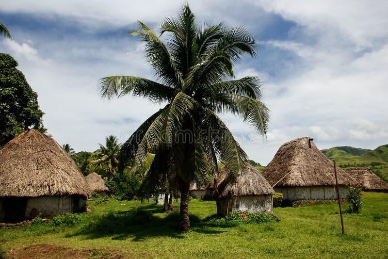 Traditionele huizen van Navala-dorp, Viti Levu, Fiji stock foto