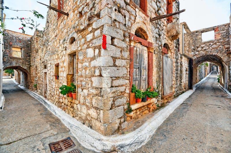Traditionele huizen in Vessa van Chios, Griekenland stock afbeeldingen