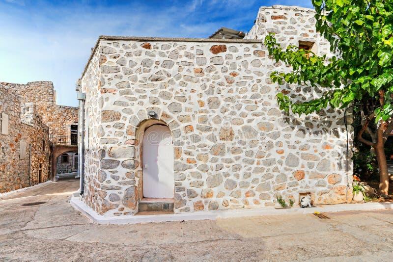 Traditionele huizen in Vessa van Chios, Griekenland royalty-vrije stock afbeelding
