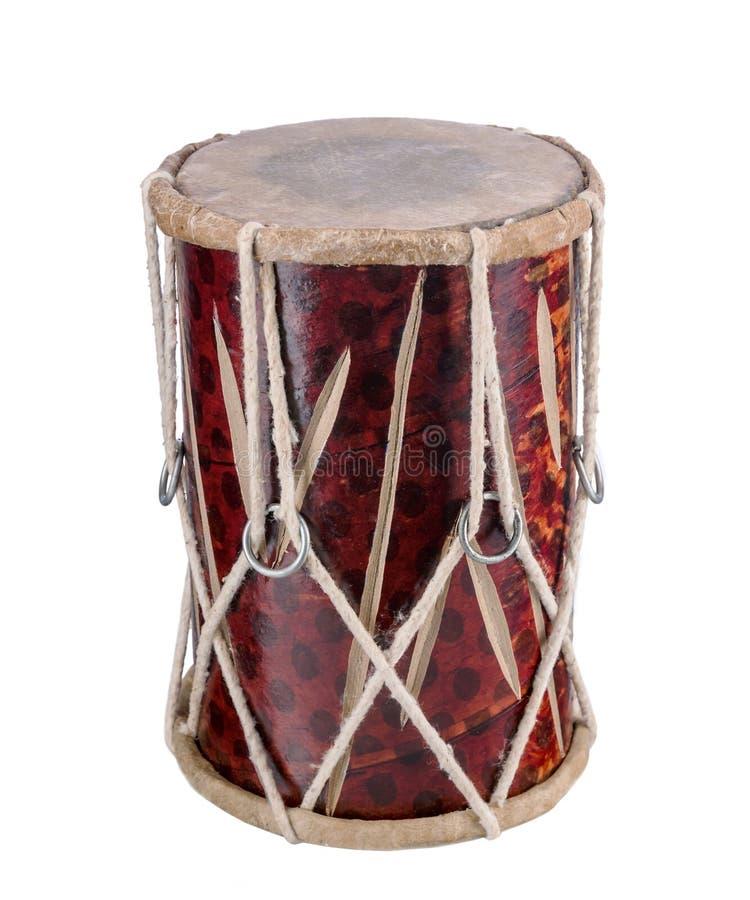 Traditionele Indische die trommel op wit wordt geïsoleerd royalty-vrije stock afbeeldingen
