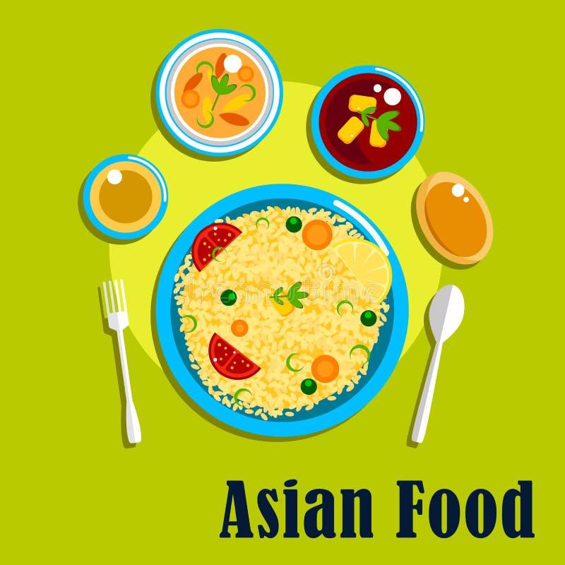 Traditionele Indische keuken, voedsel en kruiden stock illustratie