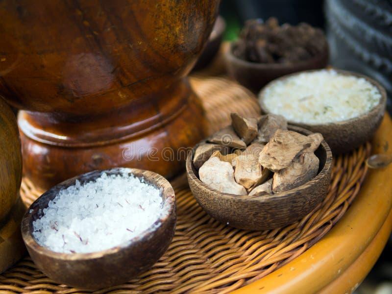 Traditionele Indonesische die kruiden in Jamu spa behandelingen worden gebruikt stock afbeeldingen