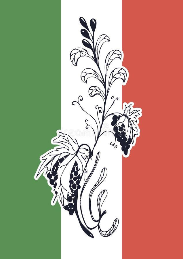 Traditionele Italiaanse keuken. Vlag van Italië. royalty-vrije stock afbeelding