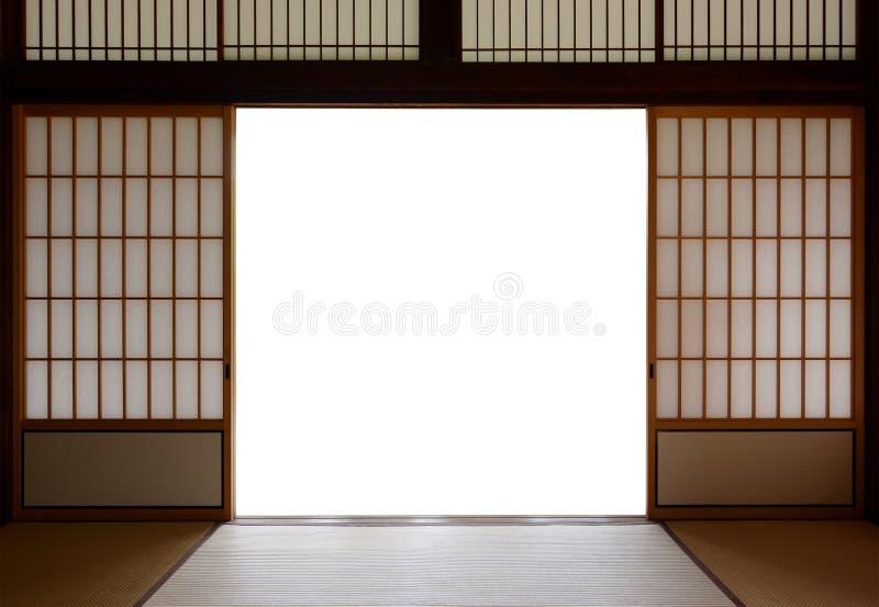 Traditionele Japanse hout en rijstpapierdeuren en de bevloering van de tatamimat royalty-vrije stock foto's